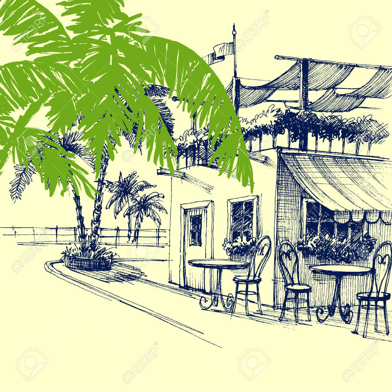 Restaurant On The Beach Terrace And Palm Trees Royalty Free Cliparts Vectors And Stock Illustration Image 58702996
