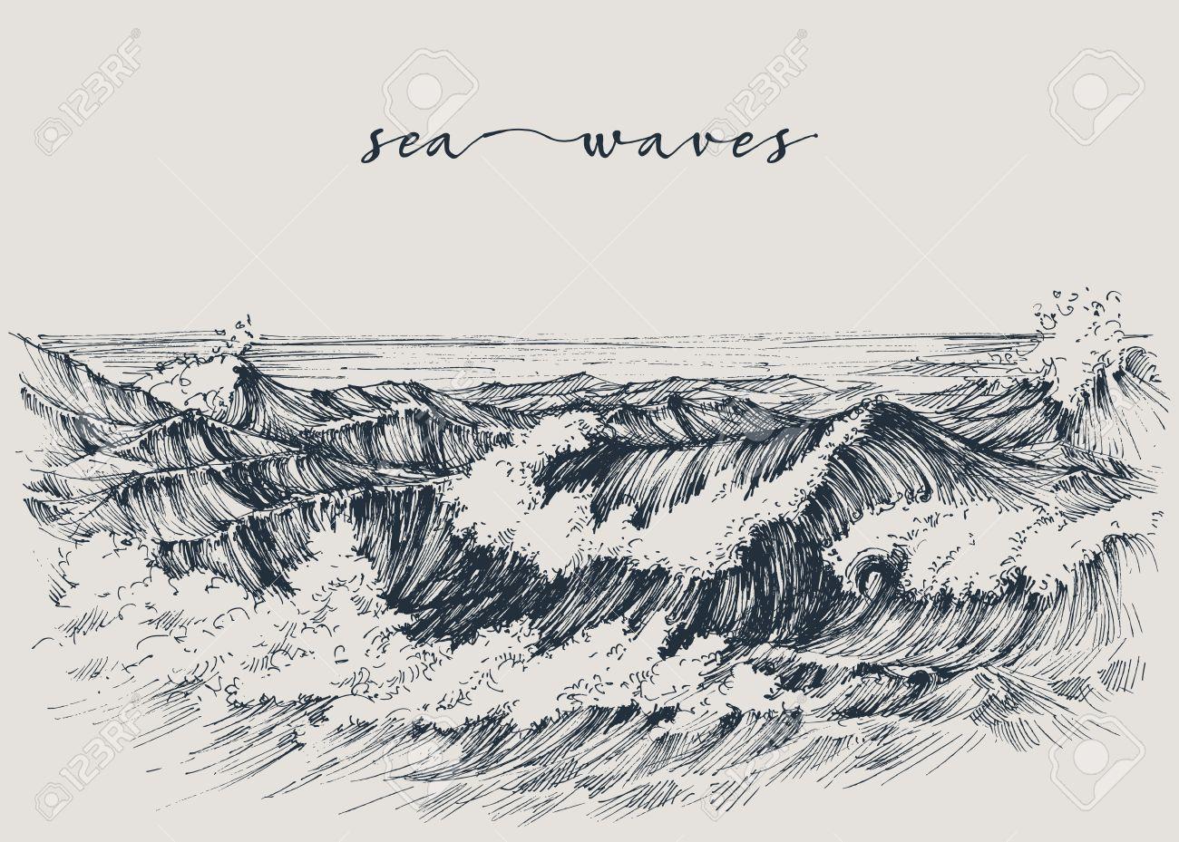 Sea or ocean waves drawing. Sea view, waves breaking on the beach - 58702995
