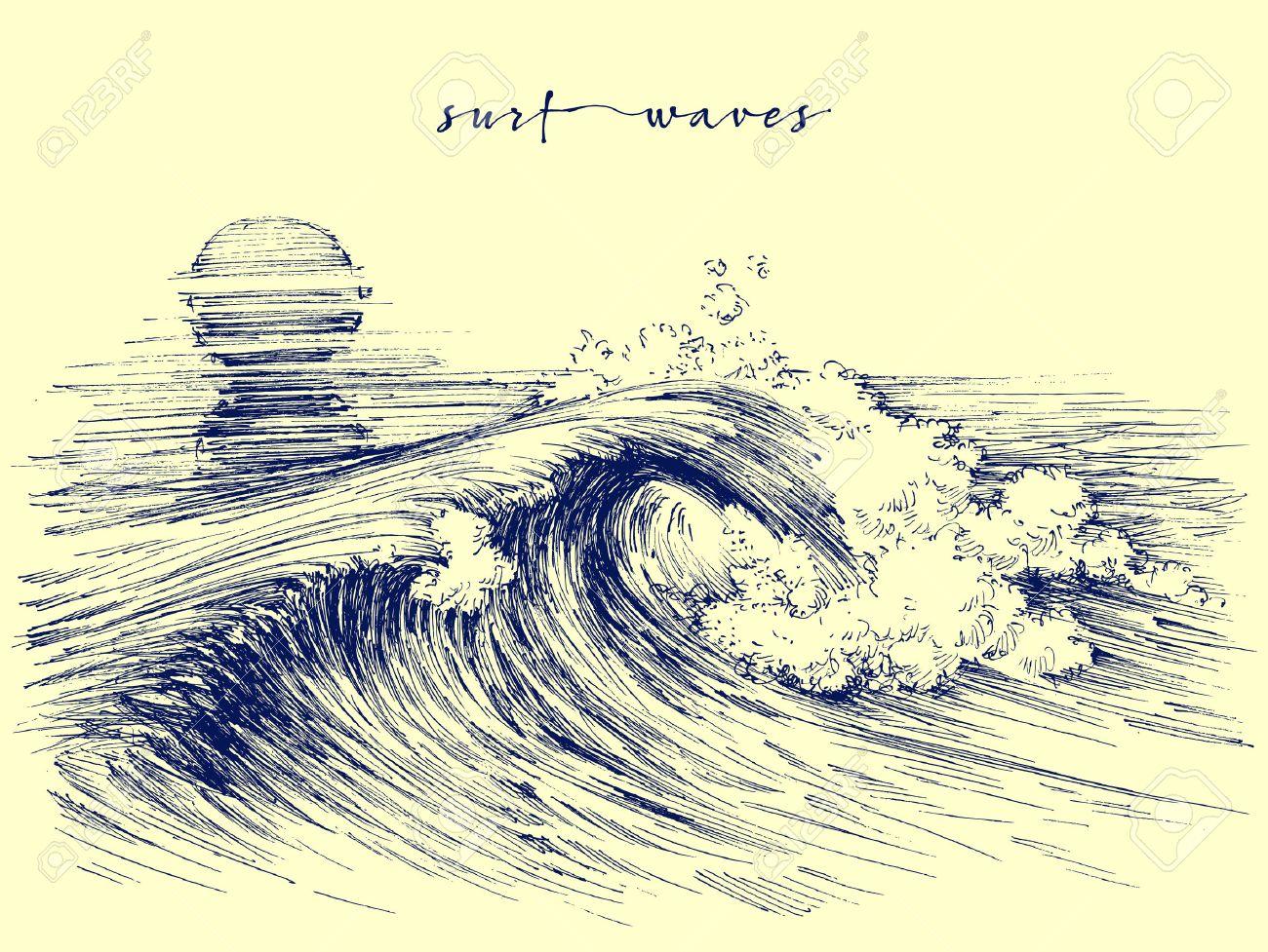 Surf waves. Sea waves graphic. Ocean wave sketch - 58703005