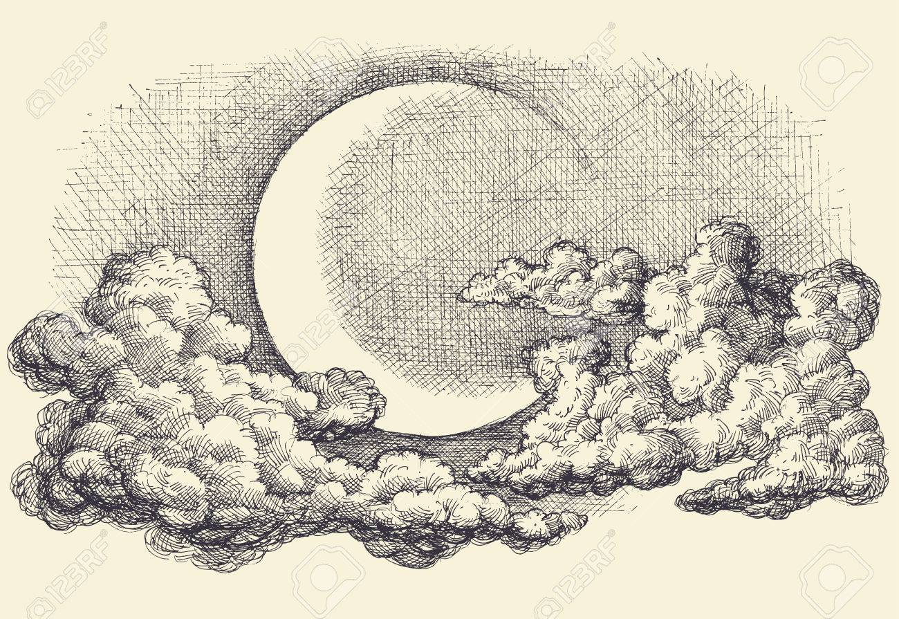 Night sky vector, moon in the clouds hand drawing - 61110269