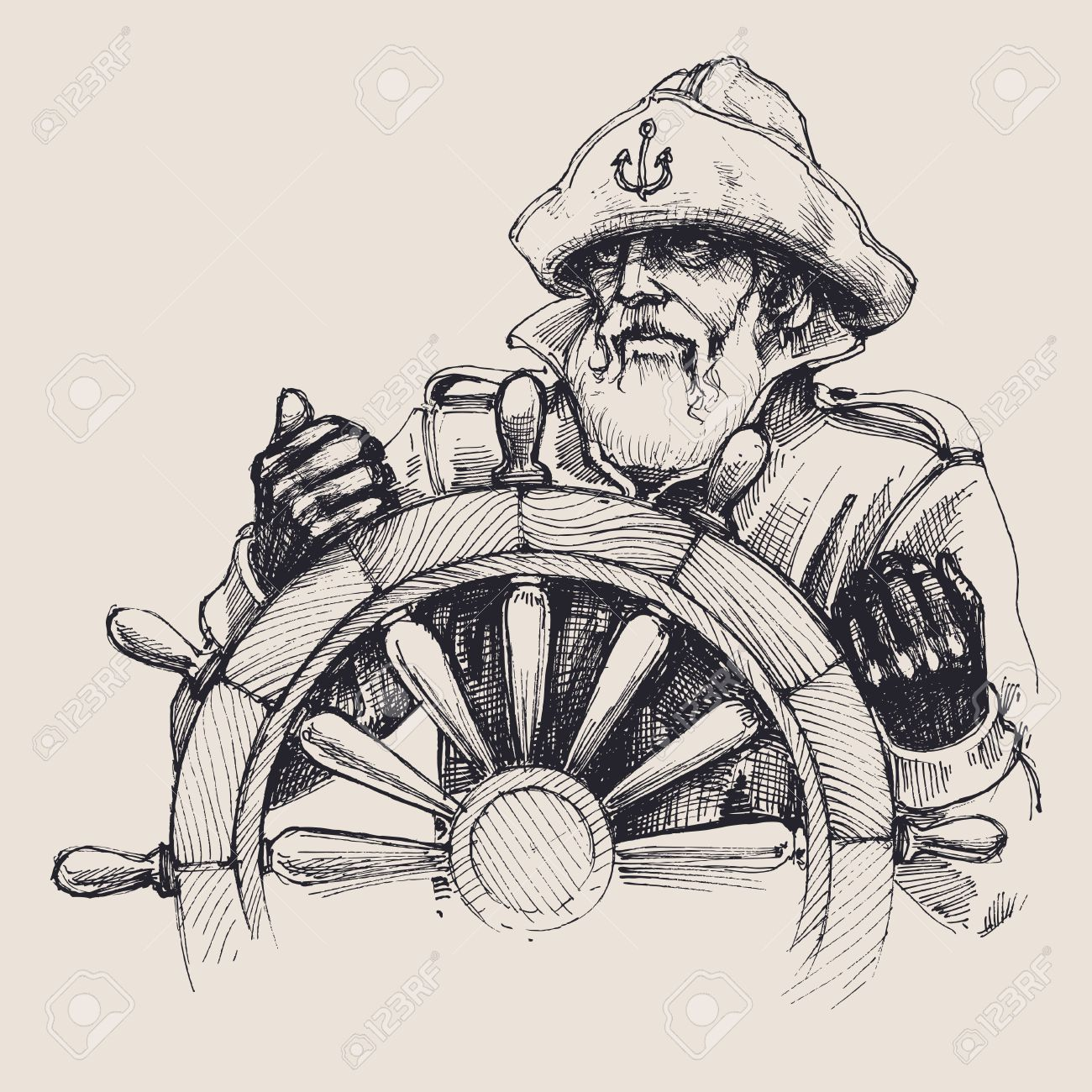 Portrait of a sailor vector drawing - 61110271