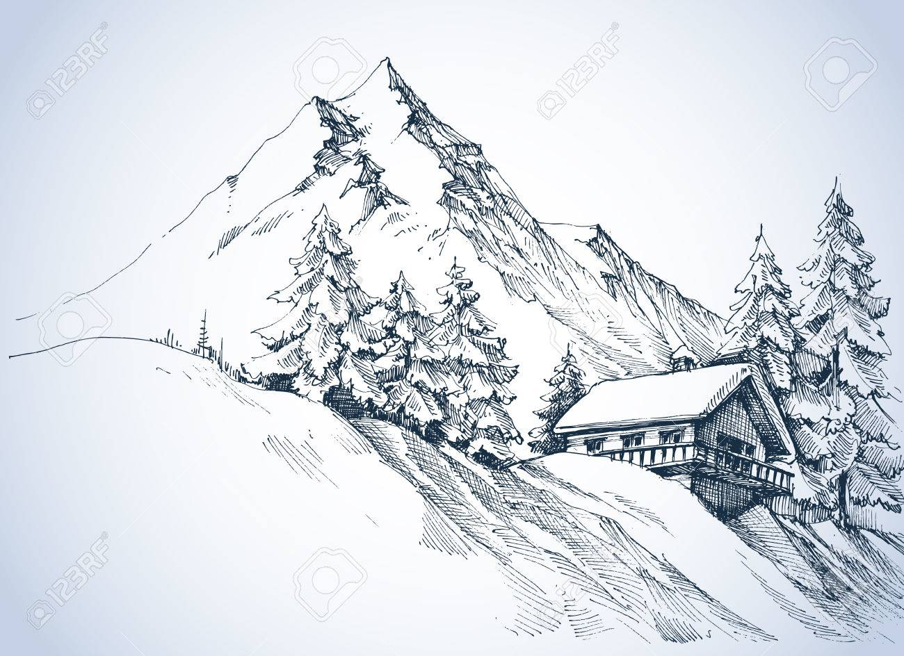 Winter landscape in the mountains. A cabin in the snow and beautiful nature surroundings - 67579990
