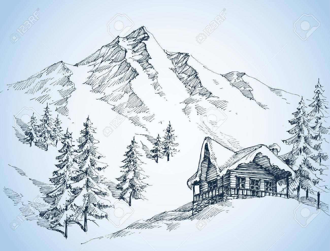 Nature in the mountains sketch, Winter landscape and winter holiday hut - 66936886