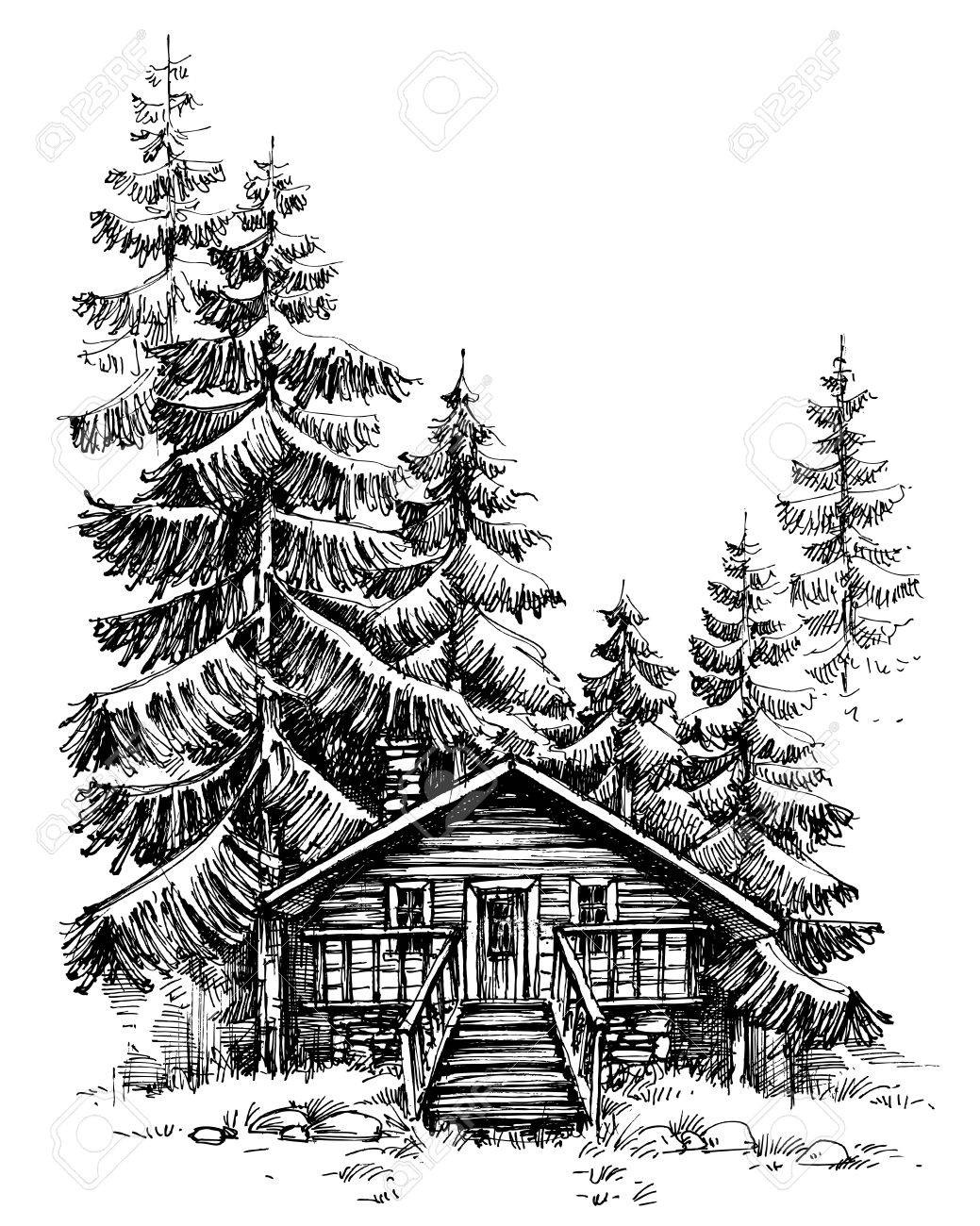 A wooden cabin in the pine forest. Idyllic winter landscape, holidays retreat - 65005064