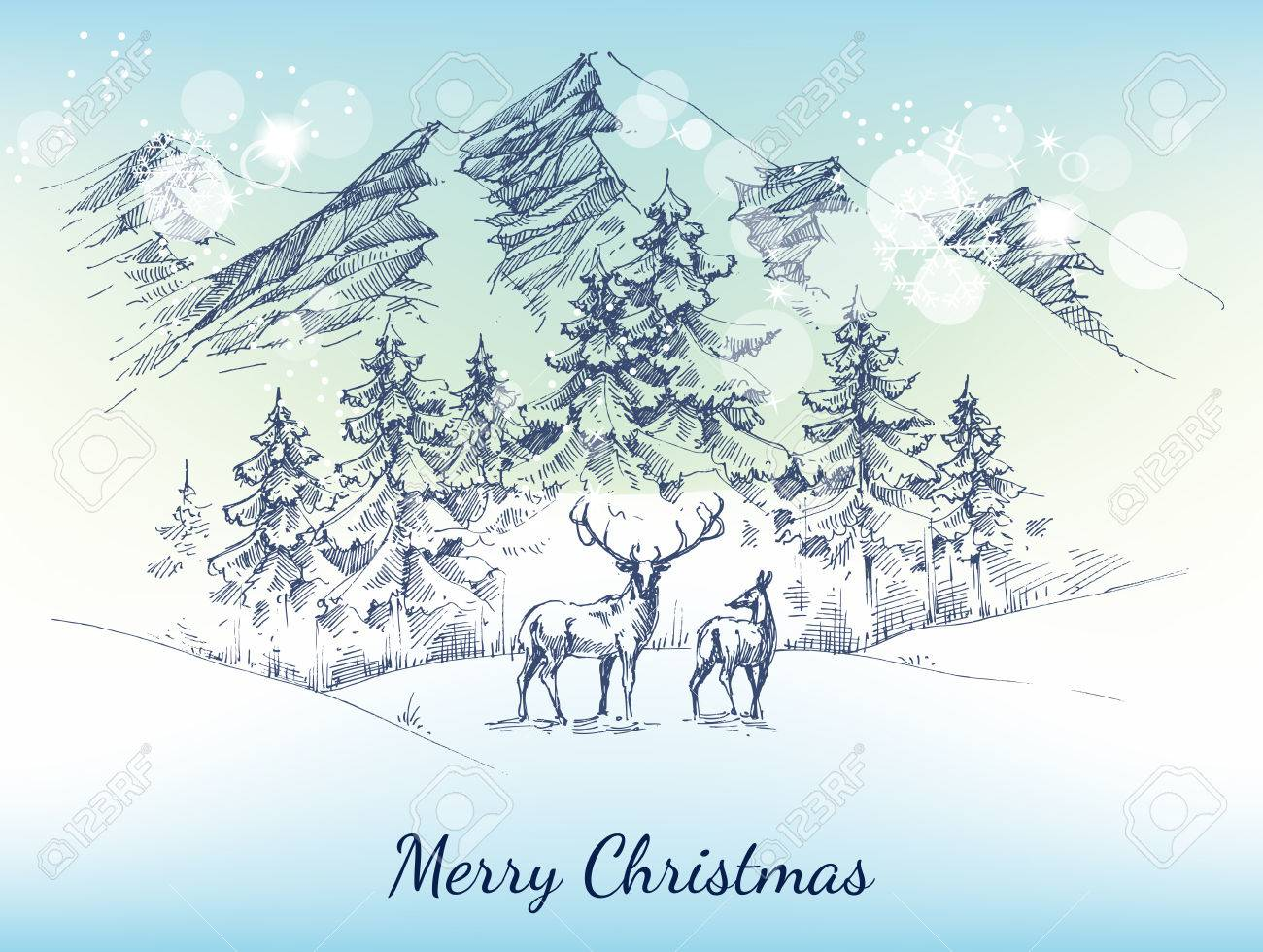 Christmas card. Winter landscape, mountains, pine forest and deer - 65005066