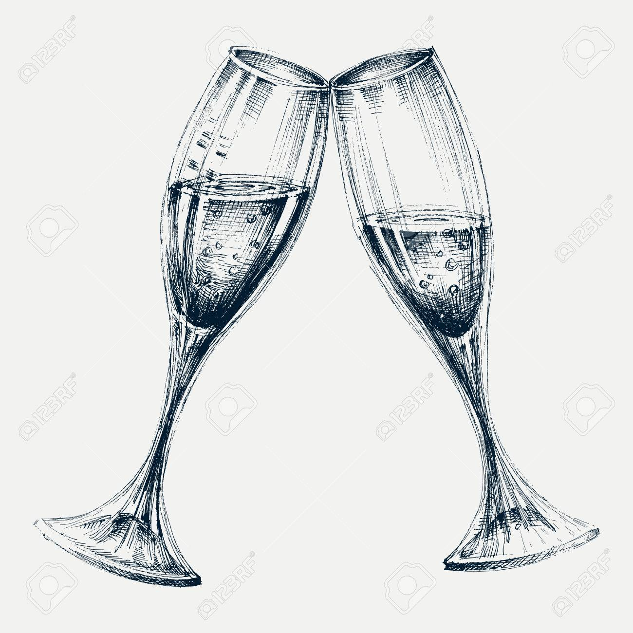 Champagne glasses isolated, New Year's party design - 69424617