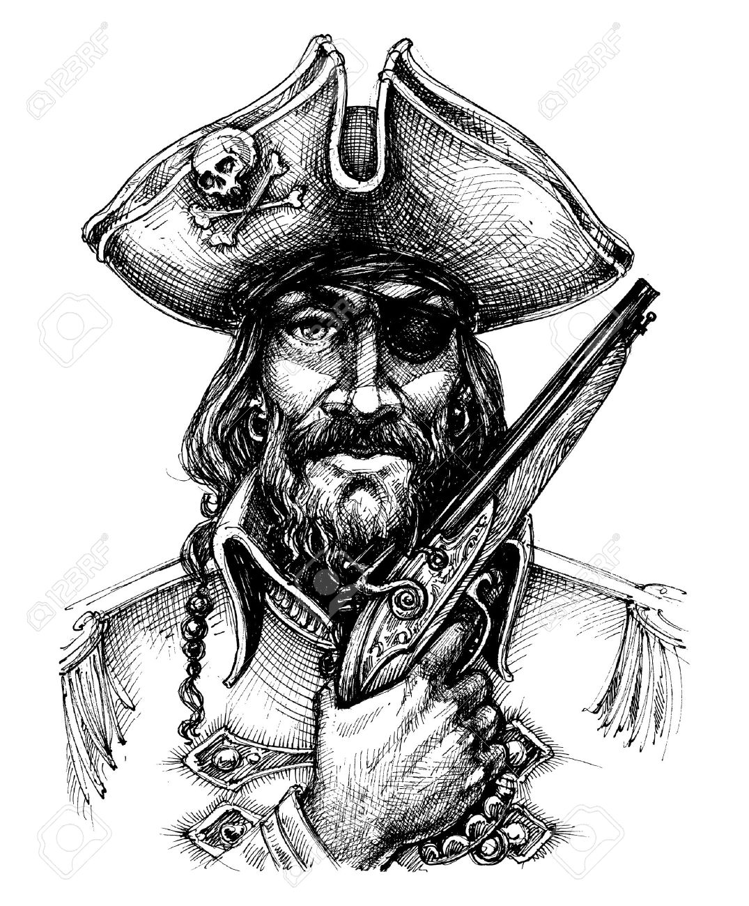 Pirate portrait drawing - 69401393
