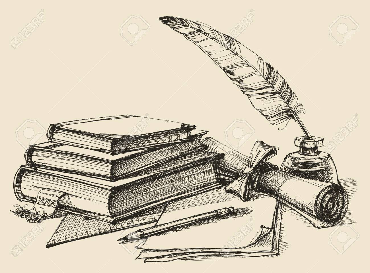 Stack of books, paper, pencil, scroll, quill pen and ink. Diploma, certificate, school, study, writing, literature, library design in vintage style - 69726051