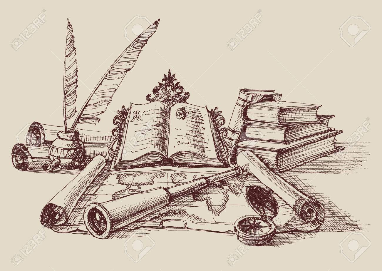 Retro study and exploration composition. Stack of books, quill pen, map, compass and spyglass. Travel concept - 71667432