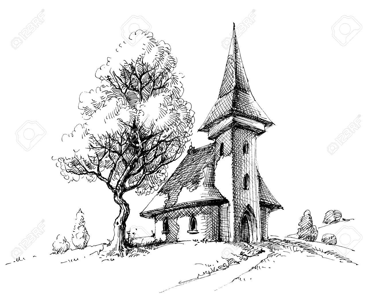 Old church sketch. Artistic drawing for printing - 71667429