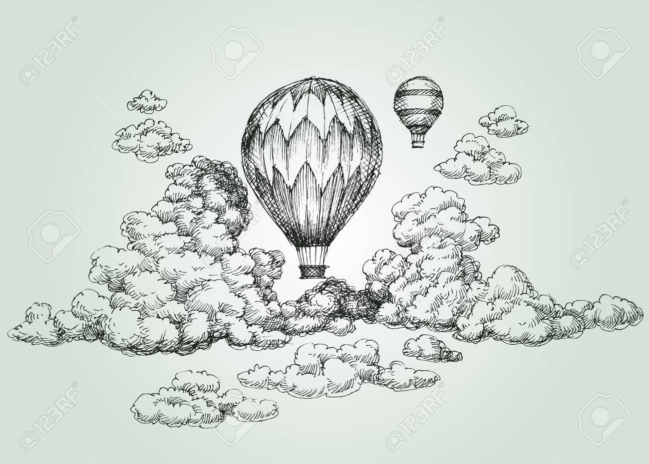 Hot air balloon drawing - 76827658