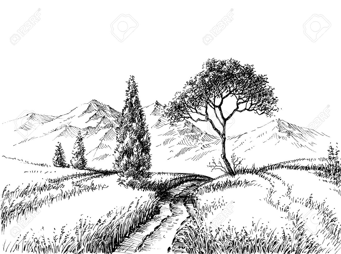 Field landscape pencil drawing a trail to the mountains hand drawn wallpaper stock vector