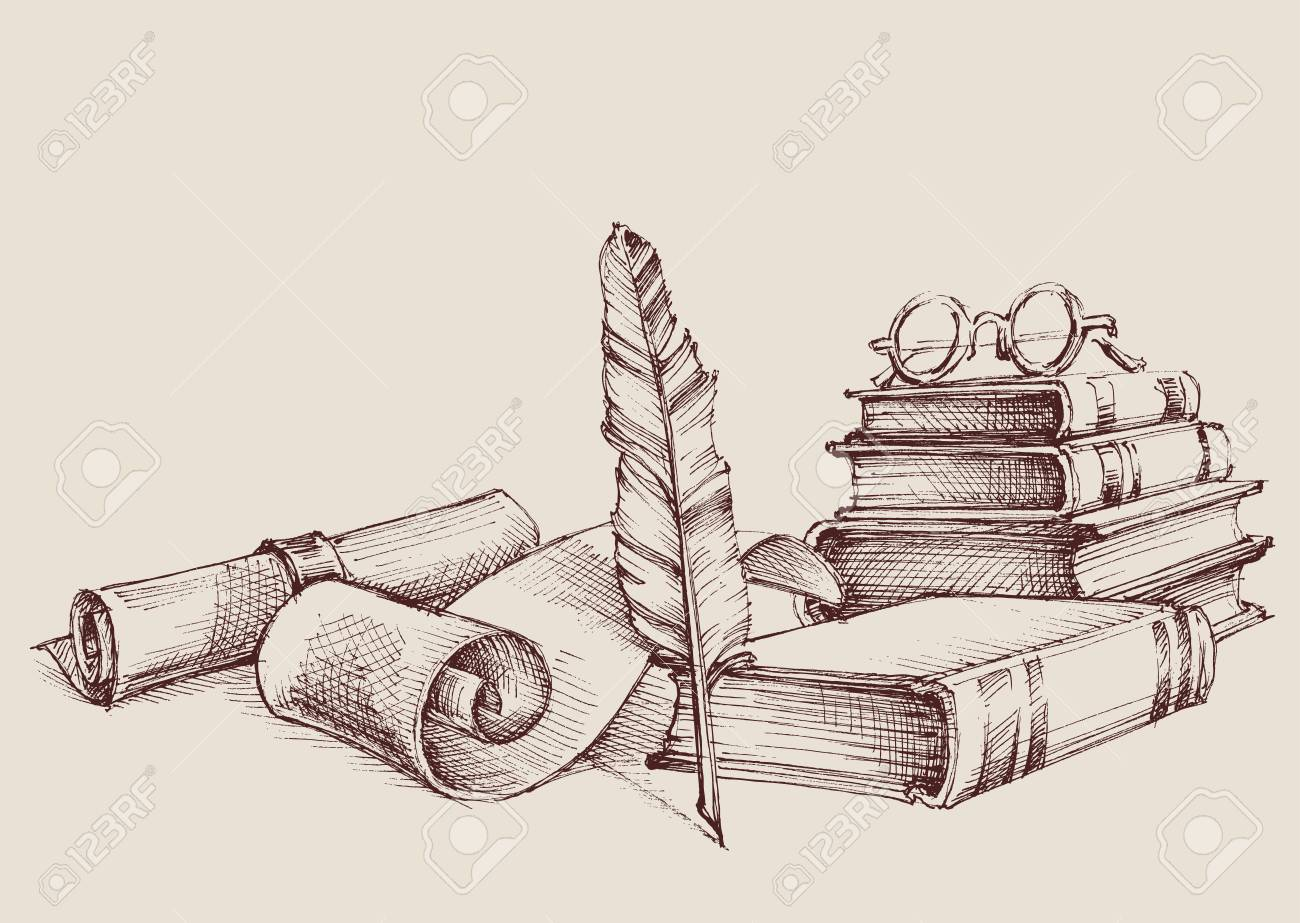 Diploma or certificate vintage ornaments, writing and reading concept. Old books, scroll and quill pen retro stand - 89750174
