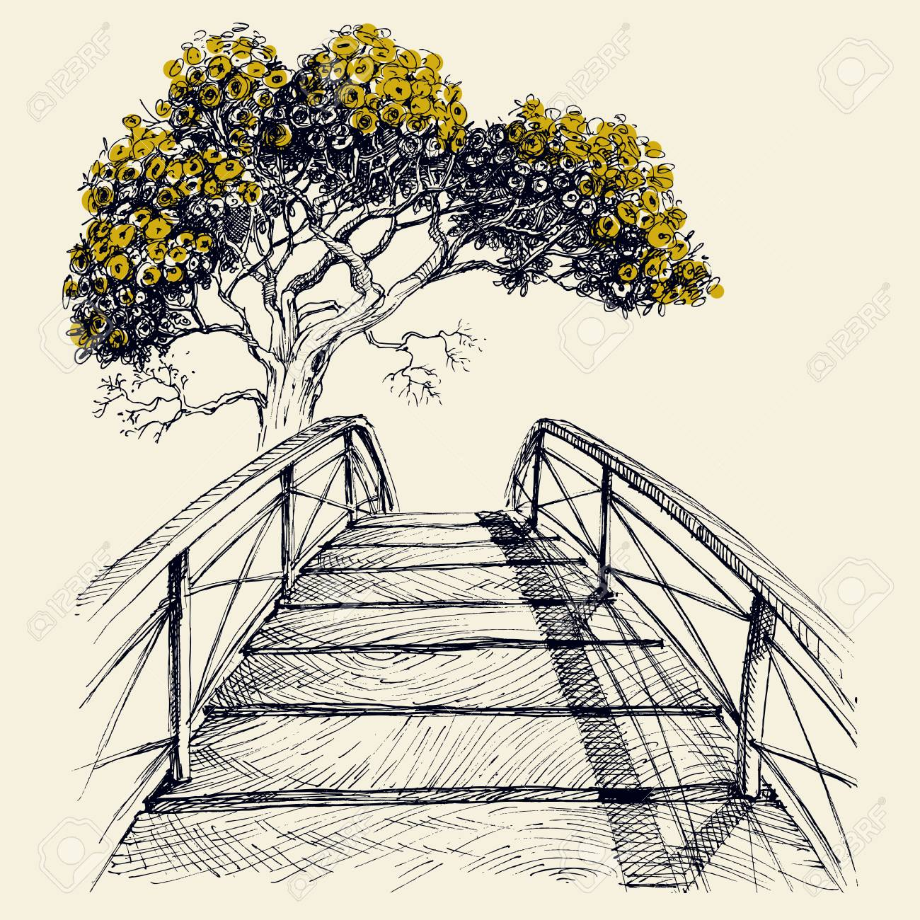 Wooden bridge arch, blooming tree in the background hand drawing vector - 121912864