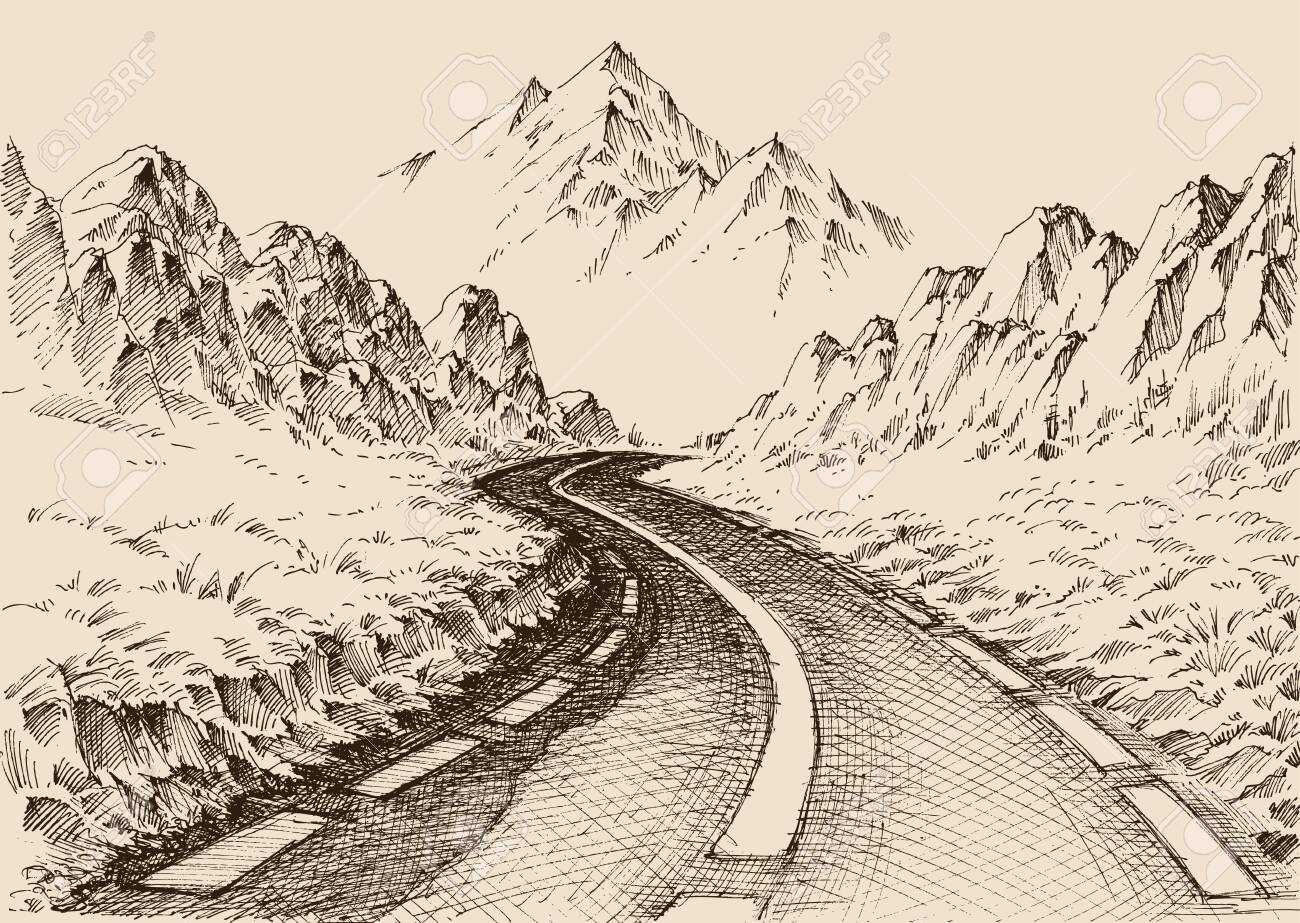 Empty Road Passing Through Alpine Landscape Hand Drawing Travel Royalty Free Cliparts Vectors And Stock Illustration Image 134078117
