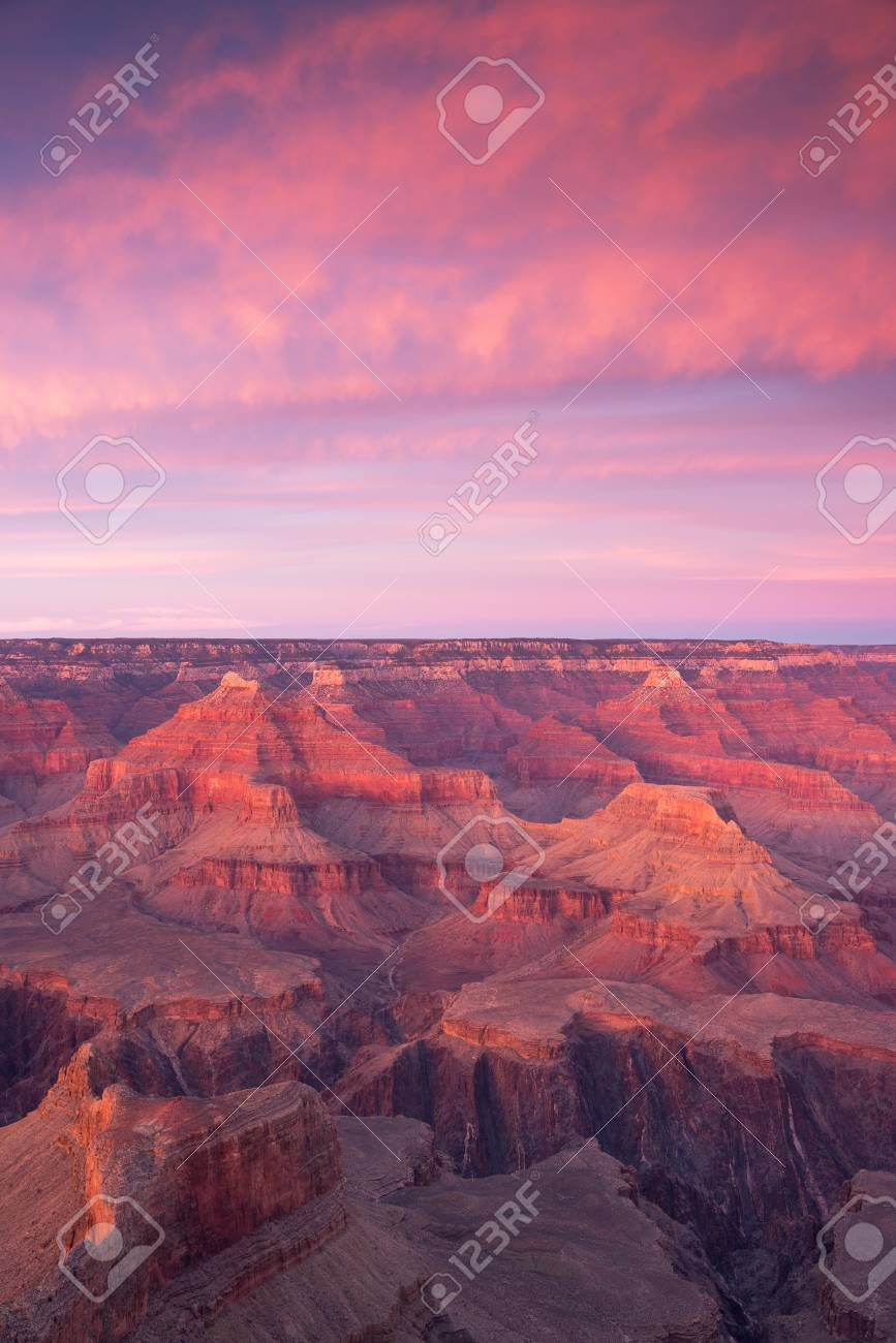 Grand Canyon National Park At Sunset In Winter With A View From
