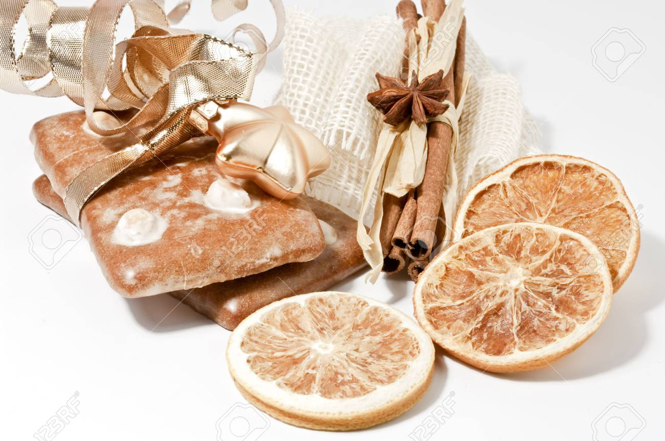 Gingerbread cookie and dried orange chips Stock Photo - 6024115