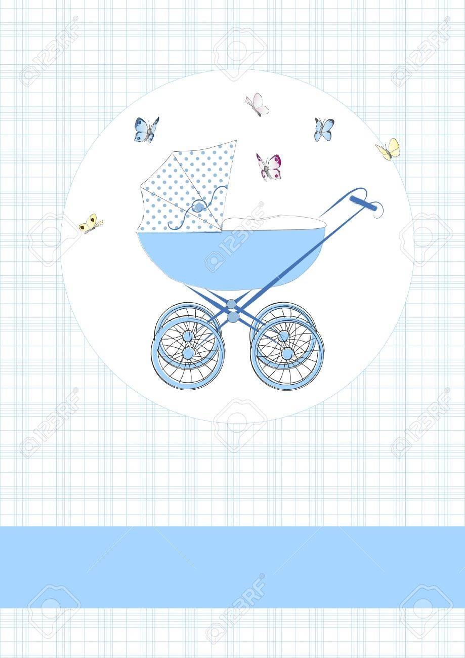 Baby buggy in blue Stock Vector - 12137329