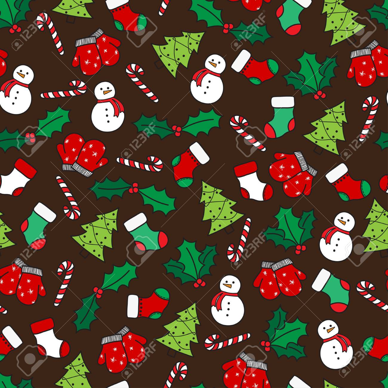 53527293 cartoon christmas seamless pattern with stockings mittens candy cane holly berries snowman and with