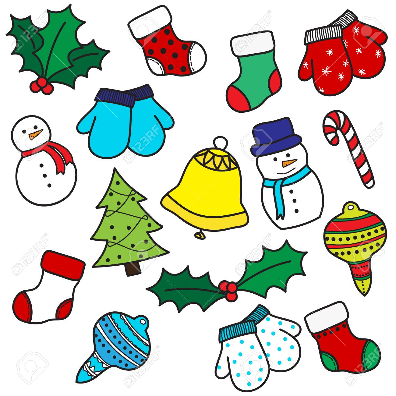 Set of colorful hand drawh cartoon Christmas elements - stockings, mittens, candy cane, holly berries, ornaments, bell, snowman and xmas tree. Vector illustration - 53527601