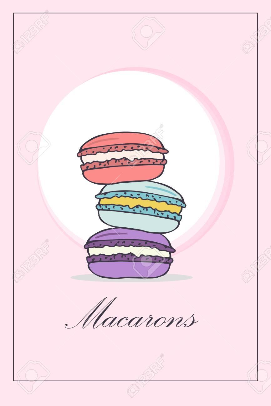 パステル ピンクの背景にカラフルなマカロンとパンフレット メニューの