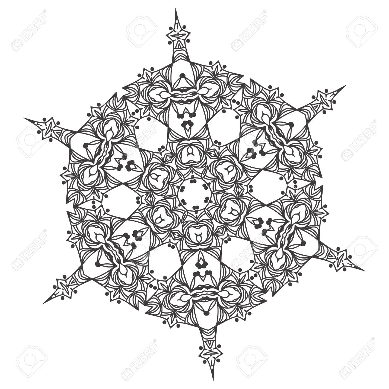 Abstract lace snowflake mandala ornament - Coloring page for..