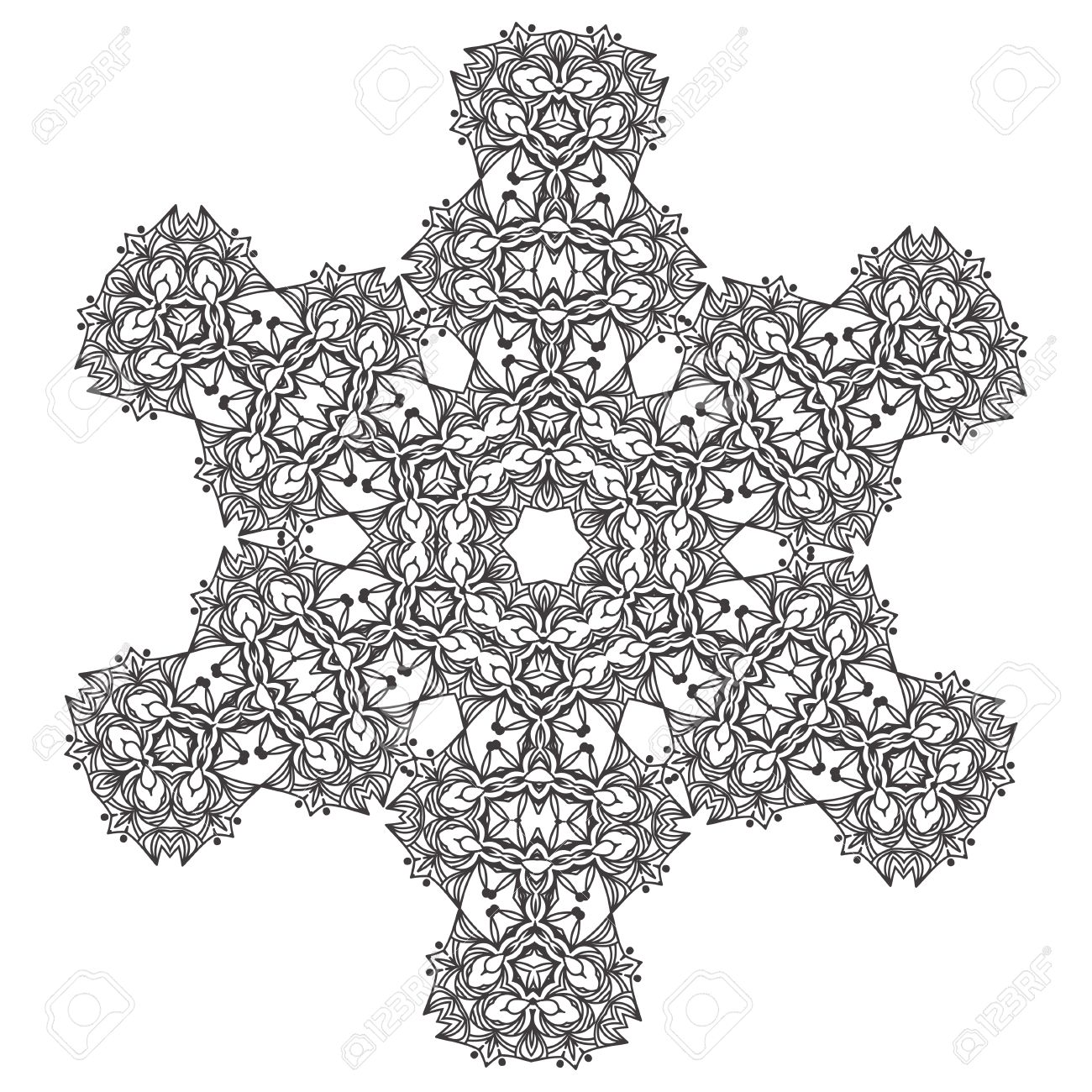 Abstract Lace Snowflake Mandala Ornament - Coloring Page For ...