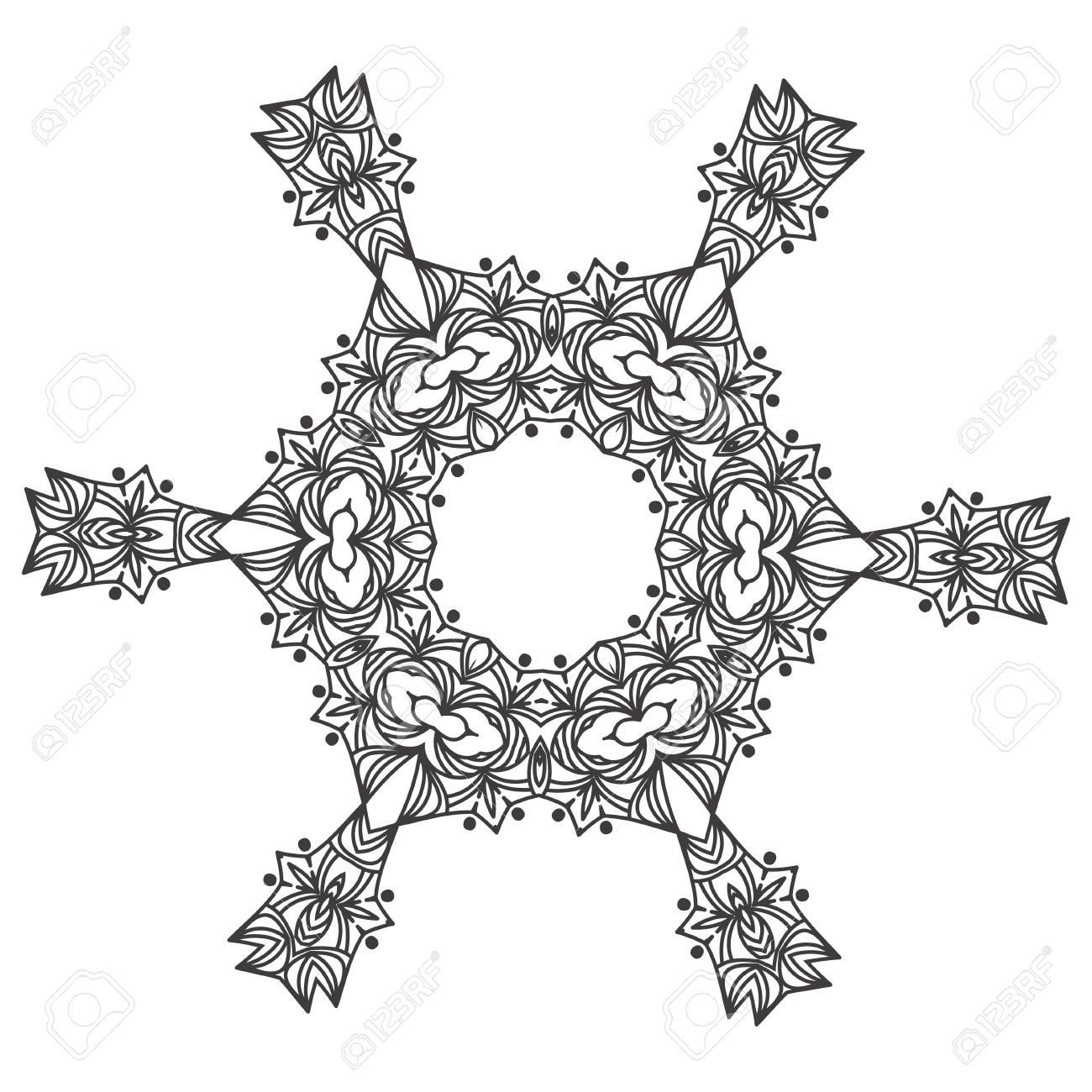 Abstrakte Spitze Schneeflocke Mandala Ornament - Malvorlage Für ...