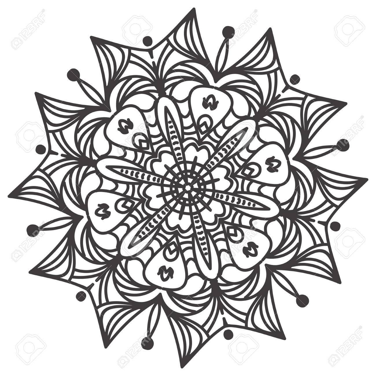Ethnic Fractal Mandala Floral Doodle Pattern - Coloring Page ...
