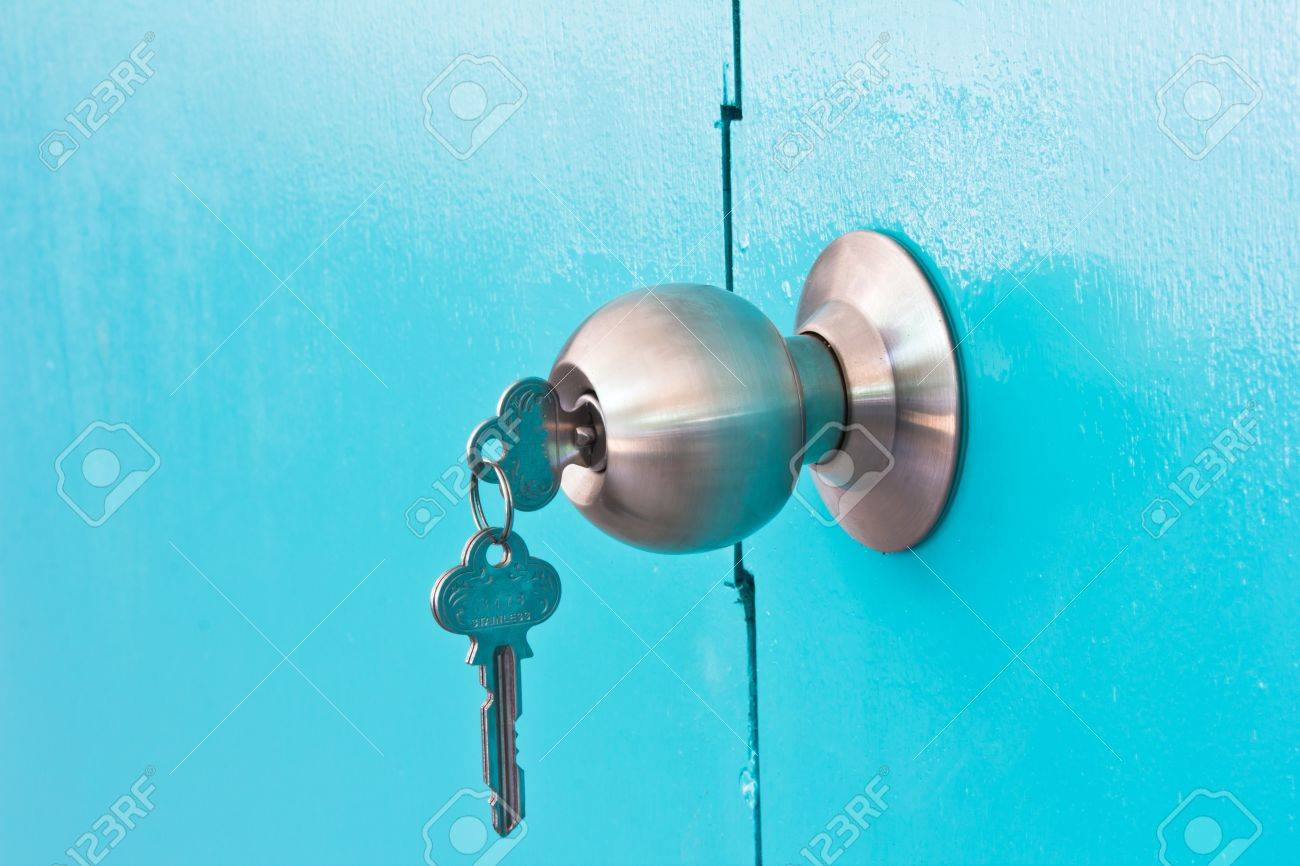 Background of door green lock Stock Photo - 17776944