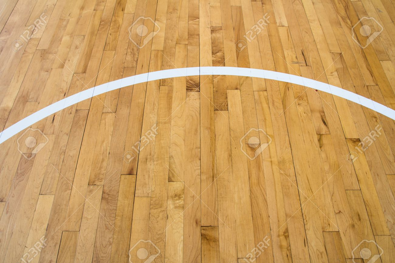 Stock Photo - line on wooden floor basketball court - Line On Wooden Floor Basketball Court Stock Photo, Picture And