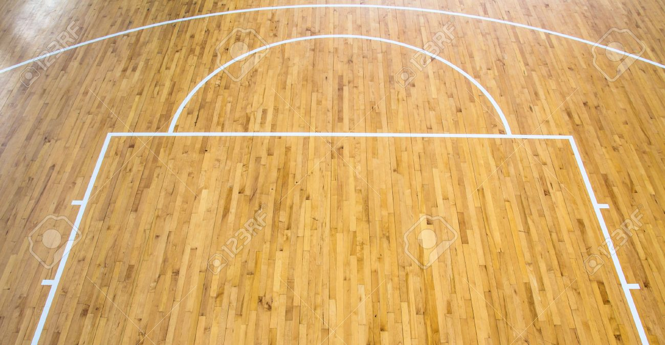 Wooden Floor Basketball Court Indoor Stock Photo, Picture And ...