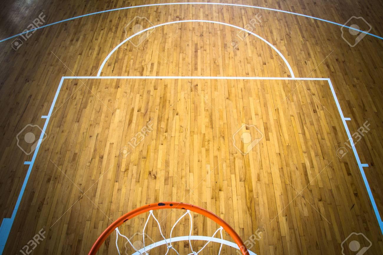 Wooden Floor Basketball Court Indoor Stock Photo, Picture And ...