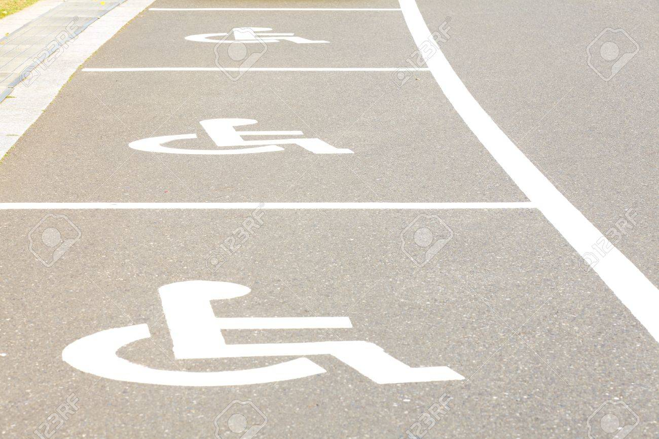 Several Handicap Parking Areas Reserved For Disabled People Fotos ...