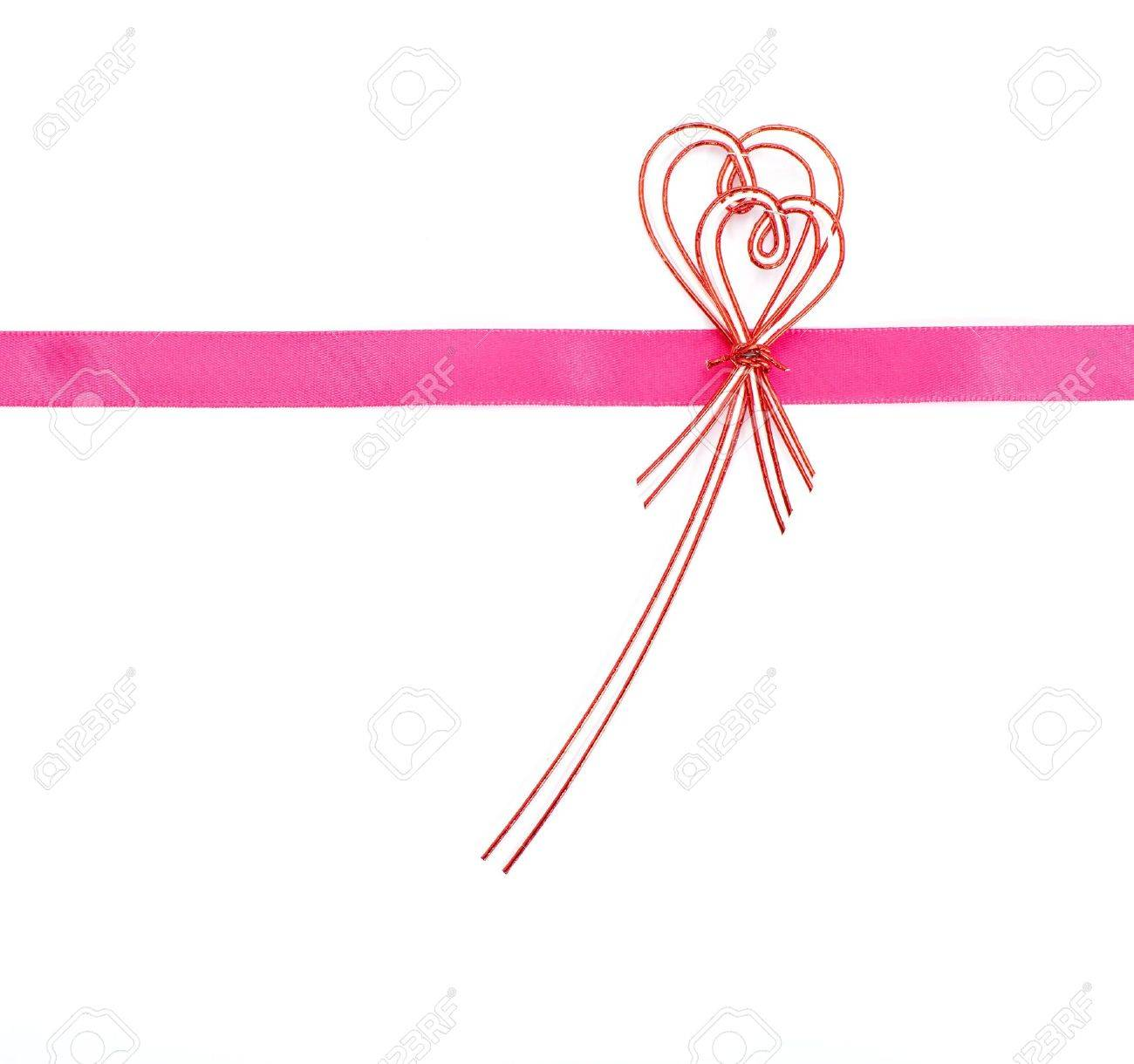 Pink ribbon bow on white background Stock Photo - 20576412