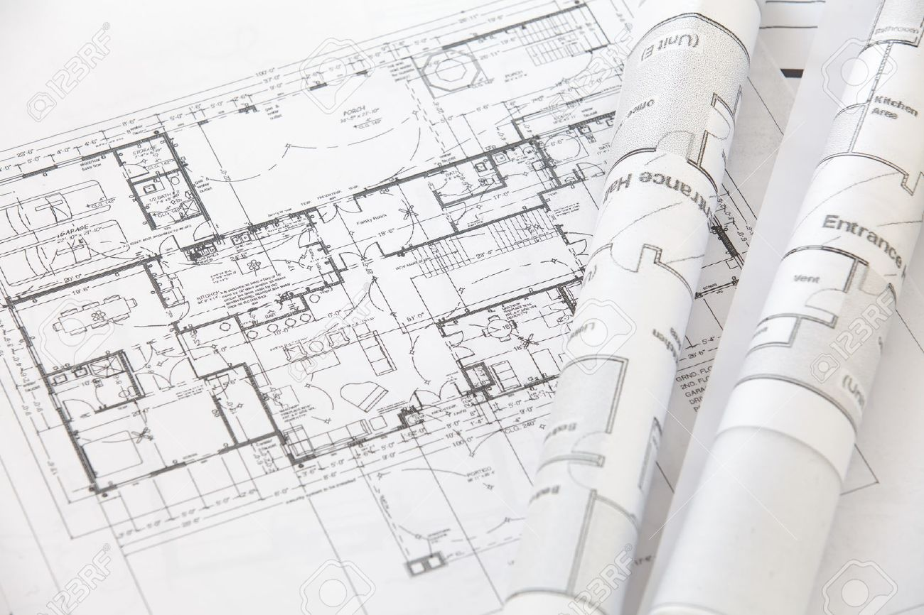 Architect Rolls And Plans Architectural Plan Stock Photo   25016407