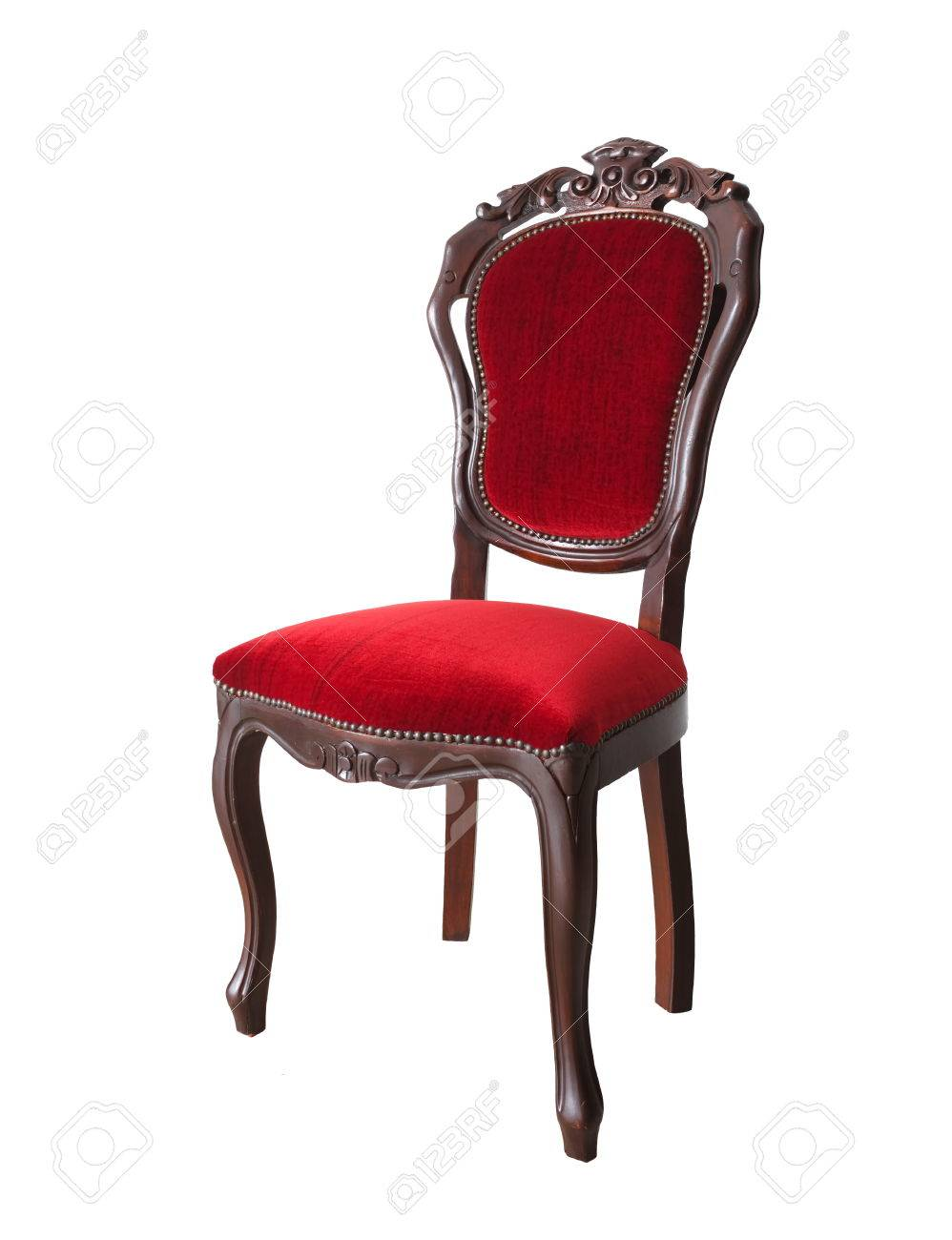 Vintage and antique red chair isolated on a white background Stock Photo -  33130551 - Vintage And Antique Red Chair Isolated On A White Background Stock