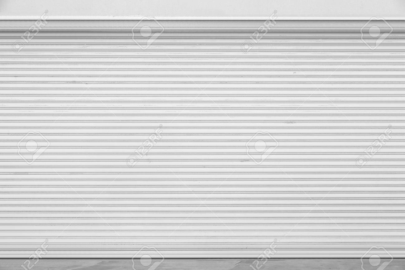 white garage door texture. Stock Photo - White Metal Roller Door Shutter Background And Texture Garage U