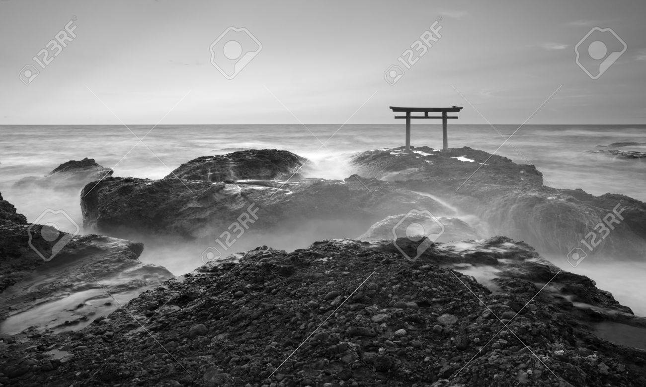 Beautiful japan landscape of traditional japanese gate and sea from oarai isosaki shrine stock photo