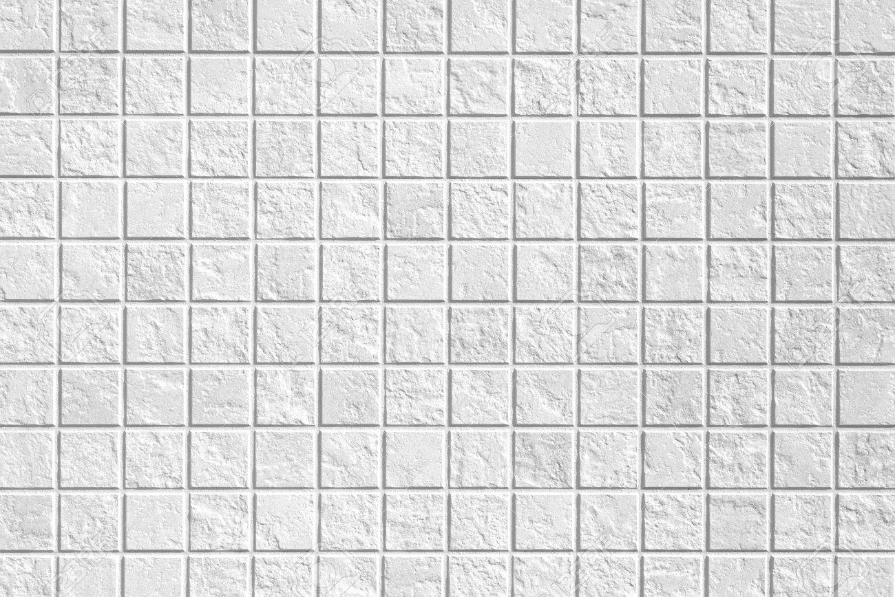 White Mosaic Tile Wall Seamless Background And Texture Stock Photo