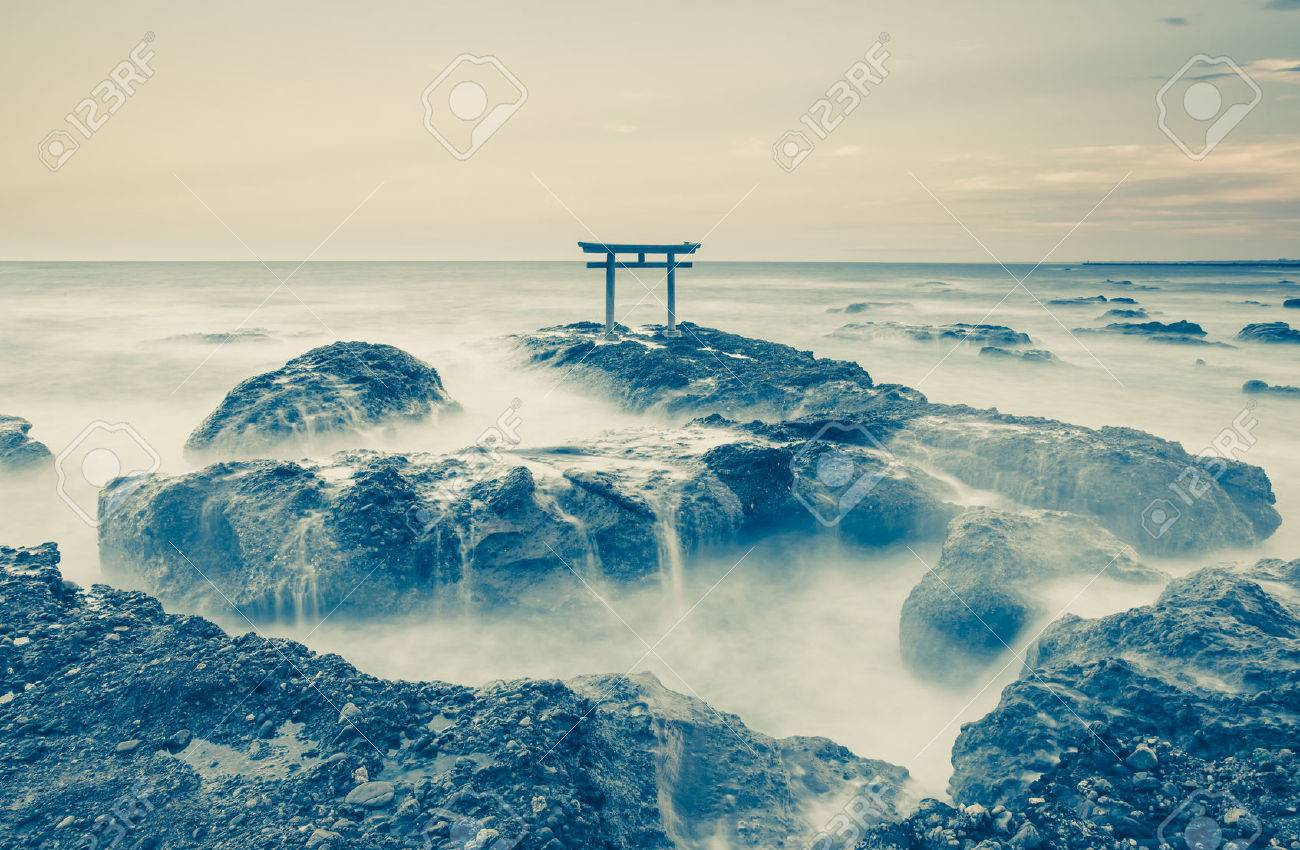 Japan Landscape Of Traditional Japanese Gate And Sea At Oarai Stock Photo Picture And Royalty Free Image Image 38897516