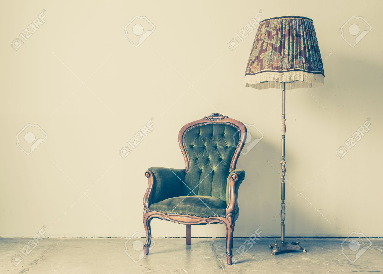 Stock Photo - Vintage and antique chair with white wall background - Vintage And Antique Chair With White Wall Background Stock Photo