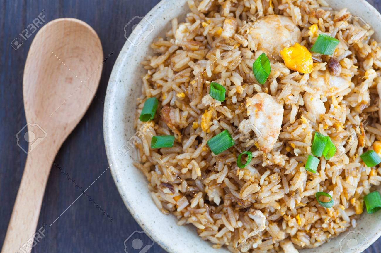 Healthy food fried rice chicken with egg and green onion - 46779471