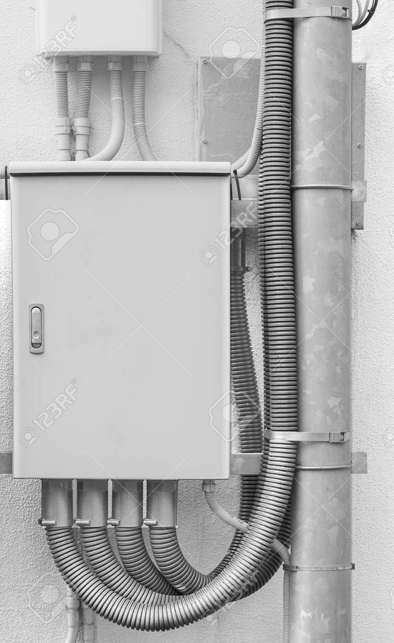 Metal Box Of Network Electric Cable At Apartment Building Wall Stock ...