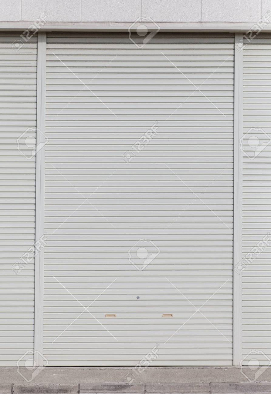 white garage door texture. Stock Photo - White Metal Roller Door Shutter Background And Texture Garage E