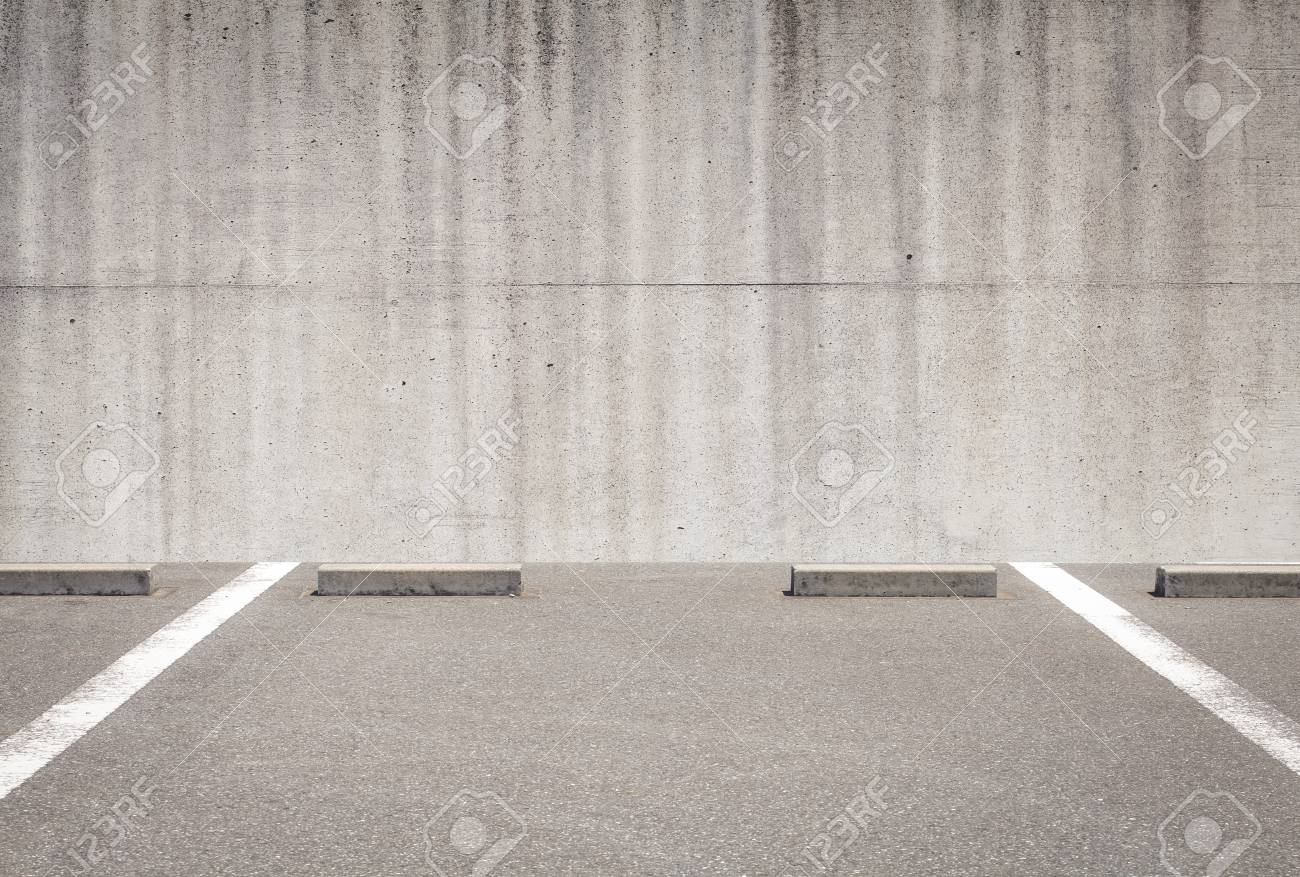 Outdoor empty space car parking and concrete wall - 51995759
