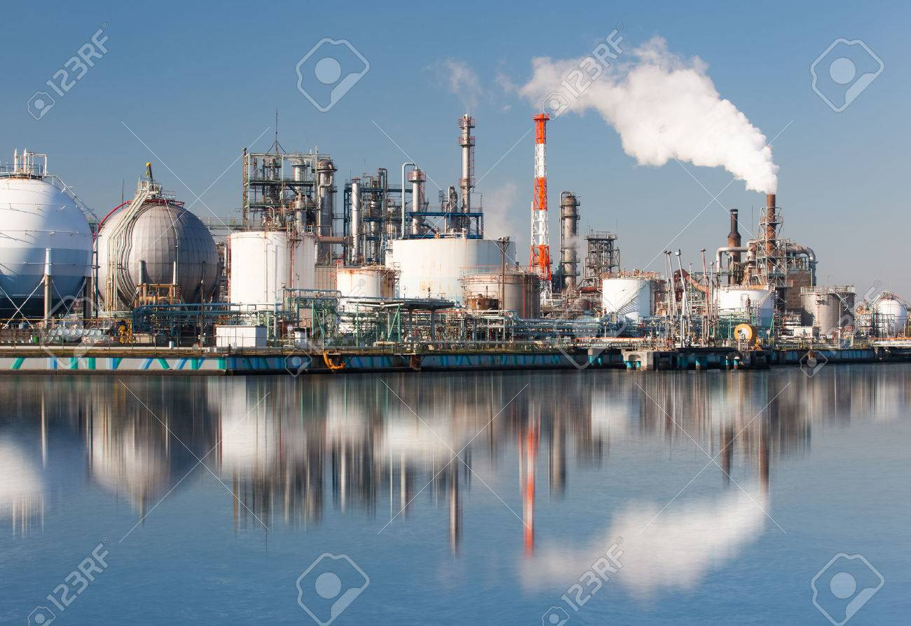 Industrial view at oil refinery plant form industry zone - 51996477