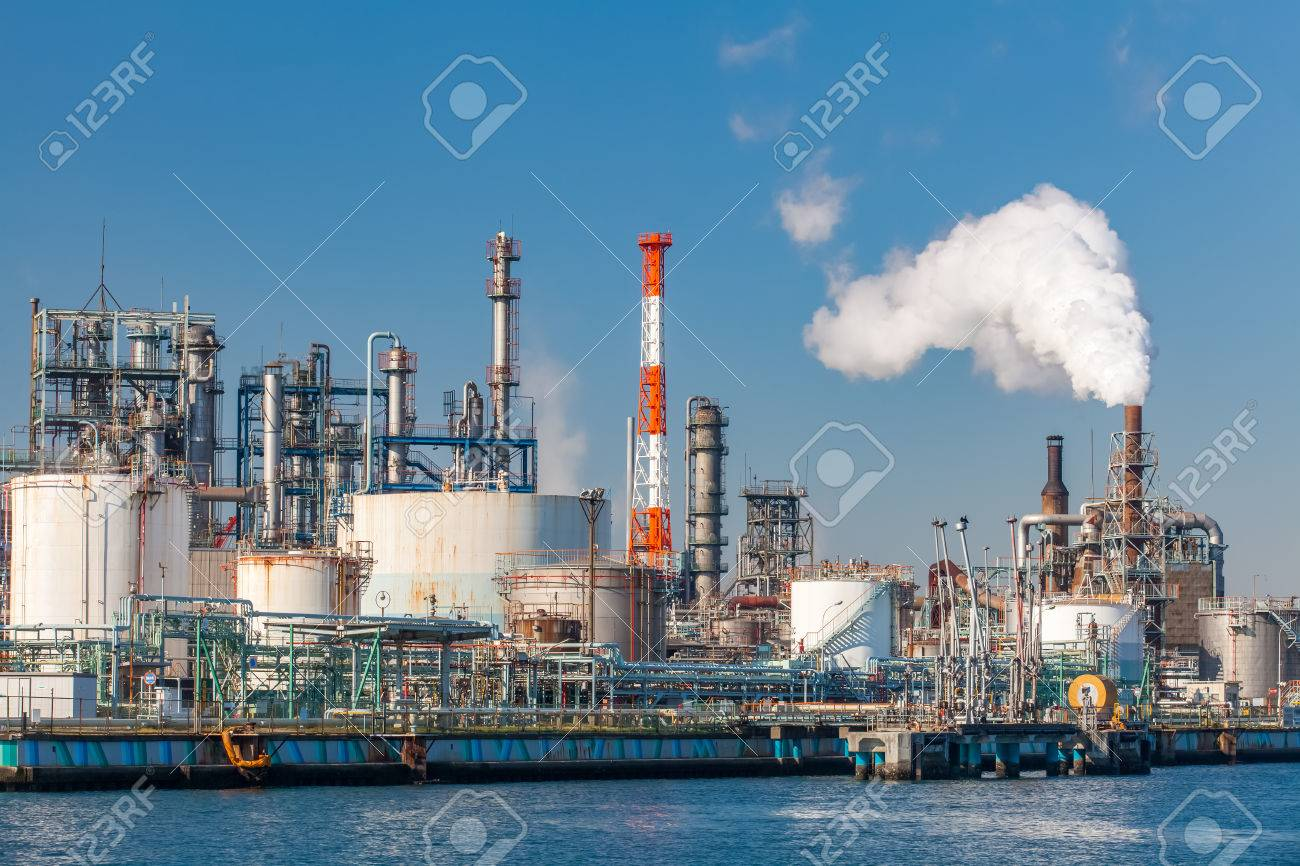 Industrial view at oil refinery plant form industry zone - 56300055