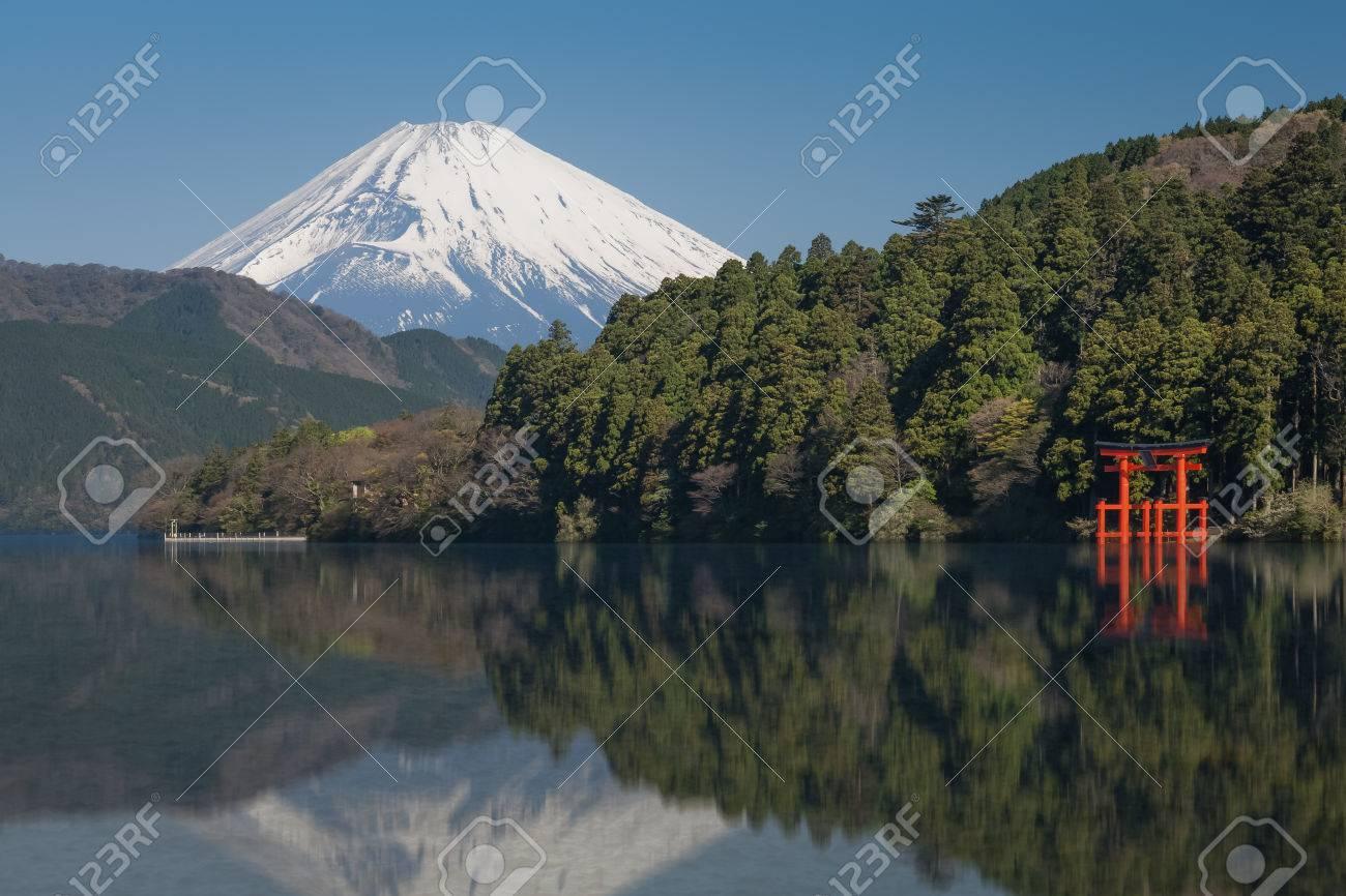 Beautiful Lake ashi and mt. Fuji in autumn season - 74422085