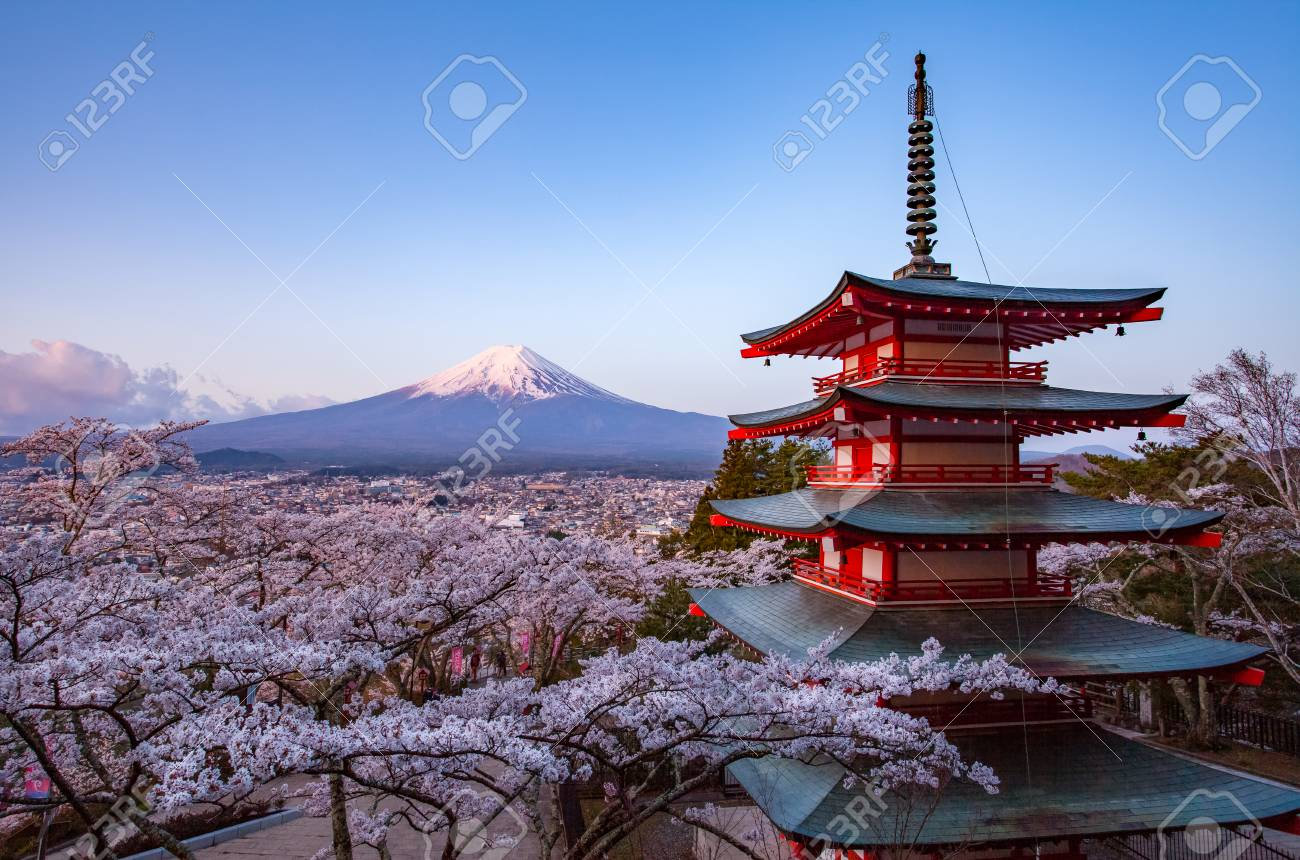 Japan Beautiful Landscape Mountain Fuji And Chureito Red Pagoda Stock Photo Picture And Royalty Free Image Image 93587812